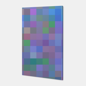 Thumbnail image of geometric square pixel pattern abstract in purple blue pink Canvas, Live Heroes