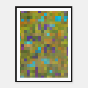 Miniaturka geometric square pixel pattern abstract in green yellow blue purple Framed poster, Live Heroes