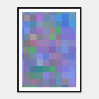 Thumbnail image of geometric square pixel pattern abstract in purple blue pink Framed poster, Live Heroes