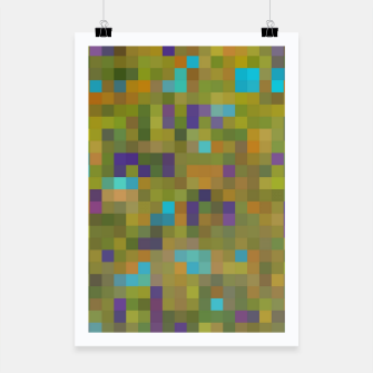 Miniaturka geometric square pixel pattern abstract in green yellow blue purple Poster, Live Heroes