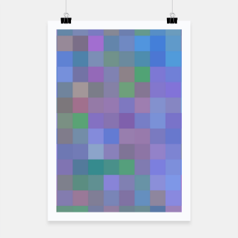 Thumbnail image of geometric square pixel pattern abstract in purple blue pink Poster, Live Heroes