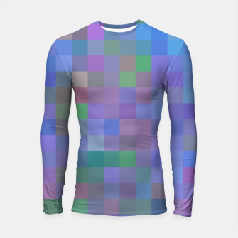 Thumbnail image of geometric square pixel pattern abstract in purple blue pink Longsleeve rashguard , Live Heroes