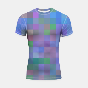 Thumbnail image of geometric square pixel pattern abstract in purple blue pink Shortsleeve rashguard, Live Heroes