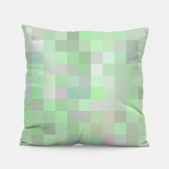 Thumbnail image of geometric square pixel pattern abstract in green and pink Pillow, Live Heroes
