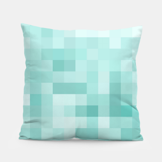 Thumbnail image of geometric square pixel pattern abstract in green Pillow, Live Heroes
