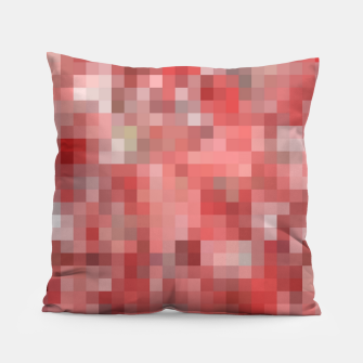 Thumbnail image of geometric square pixel pattern abstract in red Pillow, Live Heroes