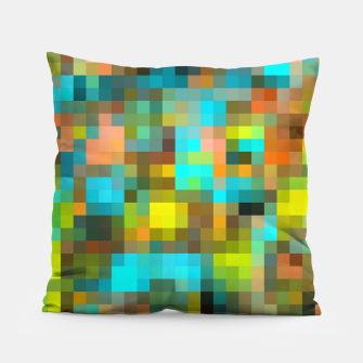 Thumbnail image of geometric square pixel pattern abstract background in blue yellow pink Pillow, Live Heroes