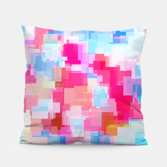 Thumbnail image of geometric square pattern abstract background in pink and blue Pillow, Live Heroes
