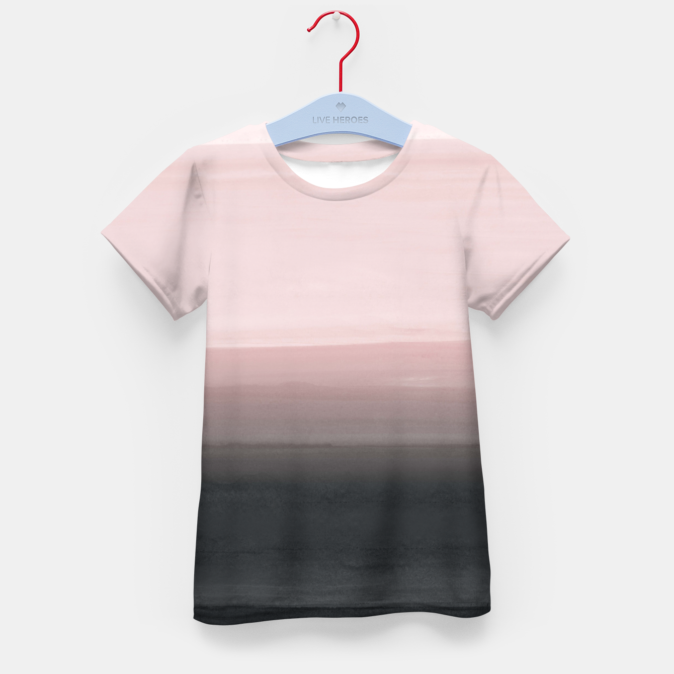 Zdjęcie Touching Blush Black Watercolor Abstract #1 #painting #decor #art  T-Shirt für kinder - Live Heroes
