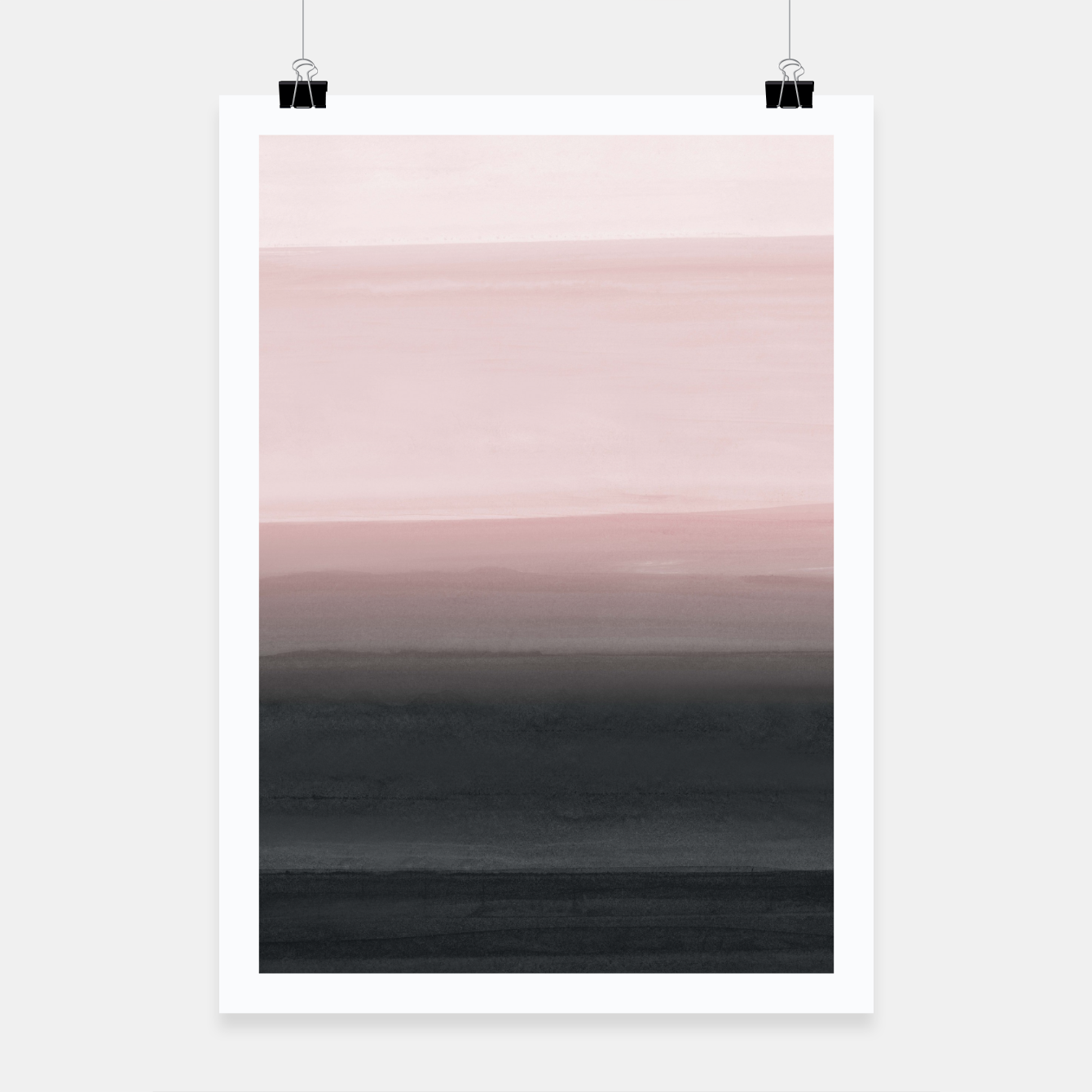 Zdjęcie Touching Blush Black Watercolor Abstract #1 #painting #decor #art  Plakat - Live Heroes