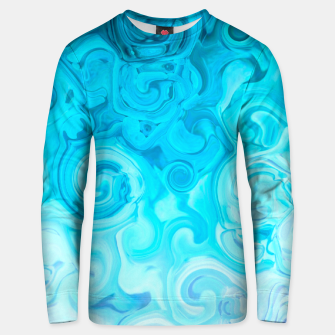 Thumbnail image of turquoise blue white whirls abstract pattern Unisex sweater, Live Heroes