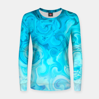 Thumbnail image of turquoise blue white whirls abstract pattern Women sweater, Live Heroes