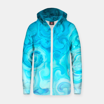 Thumbnail image of turquoise blue white whirls abstract pattern Zip up hoodie, Live Heroes
