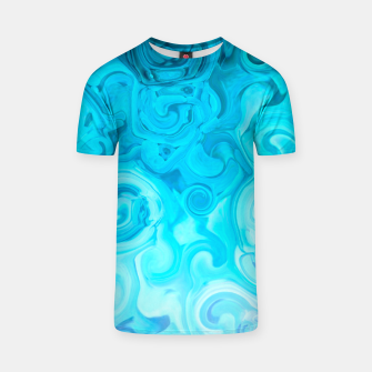 Thumbnail image of turquoise blue white whirls abstract pattern T-shirt, Live Heroes