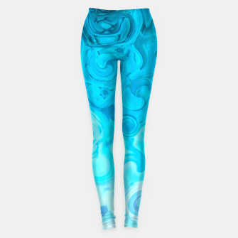 Thumbnail image of turquoise blue white whirls abstract pattern Leggings, Live Heroes
