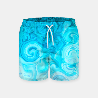 Thumbnail image of turquoise blue white whirls abstract pattern Swim Shorts, Live Heroes
