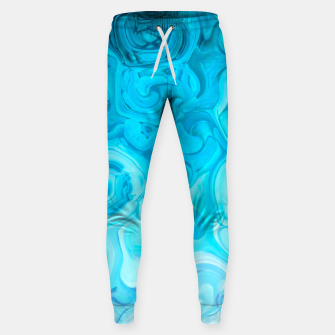 Thumbnail image of turquoise blue white whirls abstract pattern Sweatpants, Live Heroes
