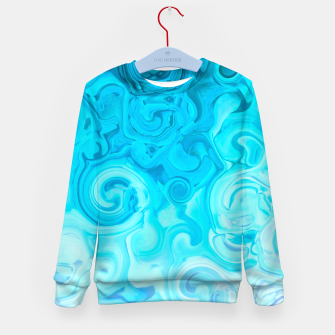Thumbnail image of turquoise blue white whirls abstract pattern Kid's sweater, Live Heroes