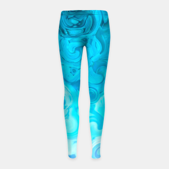 Thumbnail image of turquoise blue white whirls abstract pattern Girl's leggings, Live Heroes