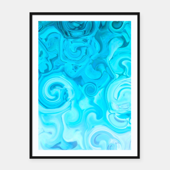 Thumbnail image of turquoise blue white whirls abstract pattern Framed poster, Live Heroes