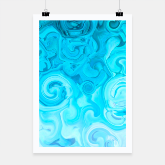 Thumbnail image of turquoise blue white whirls abstract pattern Poster, Live Heroes