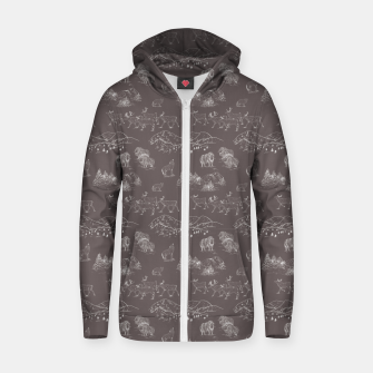 Thumbnail image of Arctic Wildlife Pattern (Taupe and White) Zip up hoodie, Live Heroes
