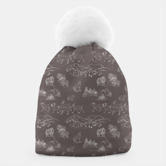 Thumbnail image of Arctic Wildlife Pattern (Taupe and White) Beanie, Live Heroes