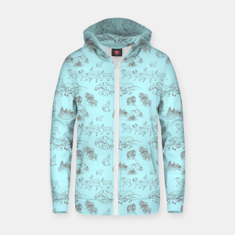 Thumbnail image of Arctic Wildlife Pattern (Light Blue and Brown) Zip up hoodie, Live Heroes
