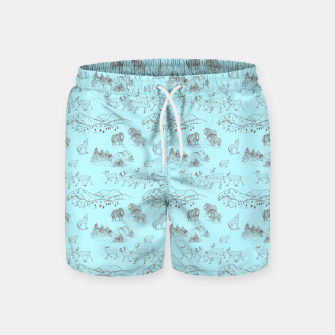 Thumbnail image of Arctic Wildlife Pattern (Light Blue and Brown) Swim Shorts, Live Heroes