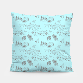 Thumbnail image of Arctic Wildlife Pattern (Light Blue and Brown) Pillow, Live Heroes