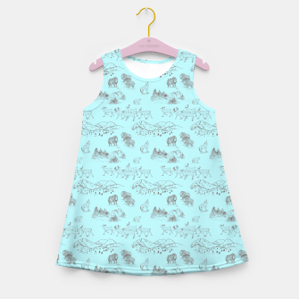 Thumbnail image of Arctic Wildlife Pattern (Light Blue and Brown) Girl's summer dress, Live Heroes
