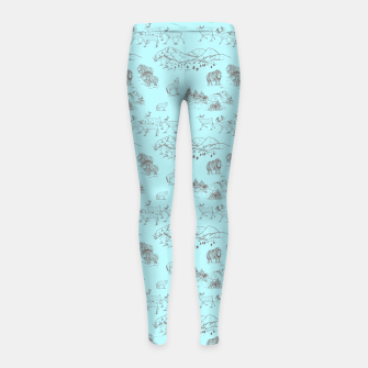 Thumbnail image of Arctic Wildlife Pattern (Light Blue and Brown) Girl's leggings, Live Heroes