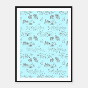 Thumbnail image of Arctic Wildlife Pattern (Light Blue and Brown) Framed poster, Live Heroes