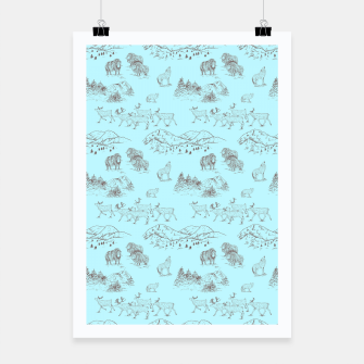 Thumbnail image of Arctic Wildlife Pattern (Light Blue and Brown) Poster, Live Heroes