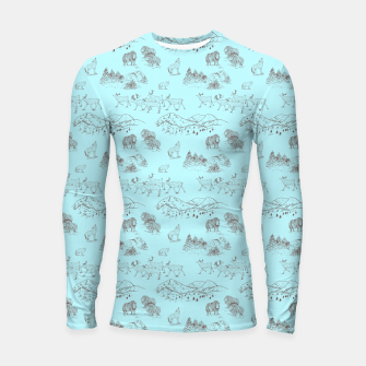 Thumbnail image of Arctic Wildlife Pattern (Light Blue and Brown) Longsleeve rashguard , Live Heroes