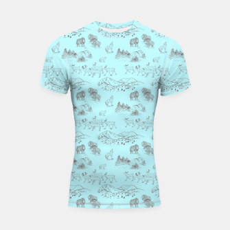 Thumbnail image of Arctic Wildlife Pattern (Light Blue and Brown) Shortsleeve rashguard, Live Heroes