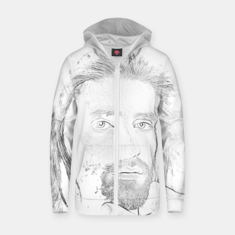 Thumbnail image of Face Zip up hoodie, Live Heroes