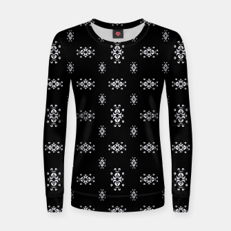 Thumbnail image of Black and White Ethnic Symbols Motif Pattern Women sweater, Live Heroes