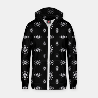 Thumbnail image of Black and White Ethnic Symbols Motif Pattern Zip up hoodie, Live Heroes