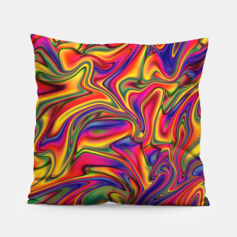 Thumbnail image of Fluid Rainbow Marbling Pillow, Live Heroes