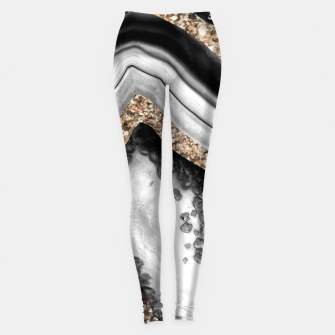 Miniaturka Agate Gold Glitter Glam #1 #gem #decor #art Leggings, Live Heroes