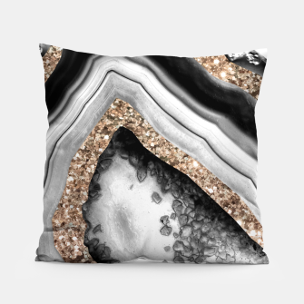 Thumbnail image of Agate Gold Glitter Glam #1 #gem #decor #art Kissen, Live Heroes