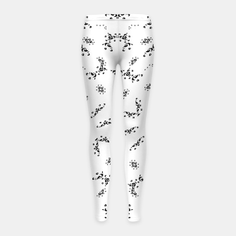 Miniatur Ethnic Ornate Black and White Design Print  Girl's leggings, Live Heroes