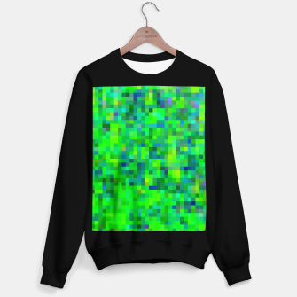 Thumbnail image of geometric square pixel pattern abstract in green and blue Sweater regular, Live Heroes