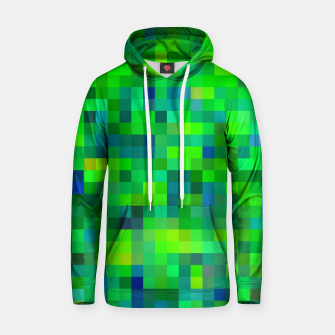 Thumbnail image of geometric square pixel pattern abstract in green and blue Hoodie, Live Heroes