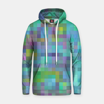 Thumbnail image of geometric square pixel pattern abstract in green blue pink Hoodie, Live Heroes