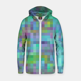 Thumbnail image of geometric square pixel pattern abstract in green blue pink Zip up hoodie, Live Heroes