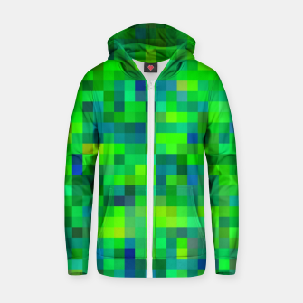 Thumbnail image of geometric square pixel pattern abstract in green and blue Zip up hoodie, Live Heroes