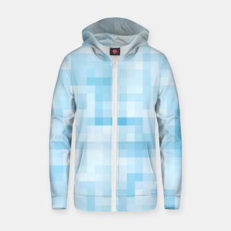 Thumbnail image of geometric square pixel pattern abstract in blue Zip up hoodie, Live Heroes