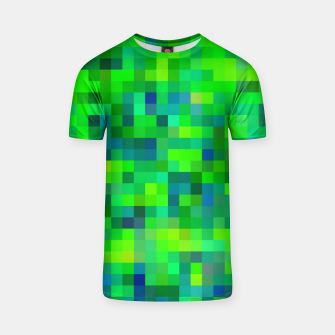 Thumbnail image of geometric square pixel pattern abstract in green and blue T-shirt, Live Heroes